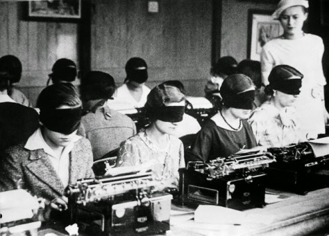 Blindfolded Typing Competition in Paris, ca. 1940